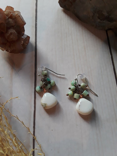 Indian Opal Earrings with Amazonite Beads