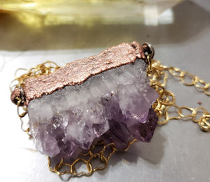 Raw Amethyst on Heart Chain