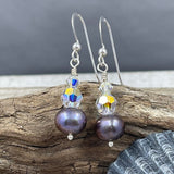 Jr. Swarovski Crystal and Peacock Pearl Earrings