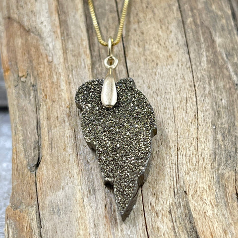 Zirconium and Silver Coated Druzy Leaf on 14K Box Chain