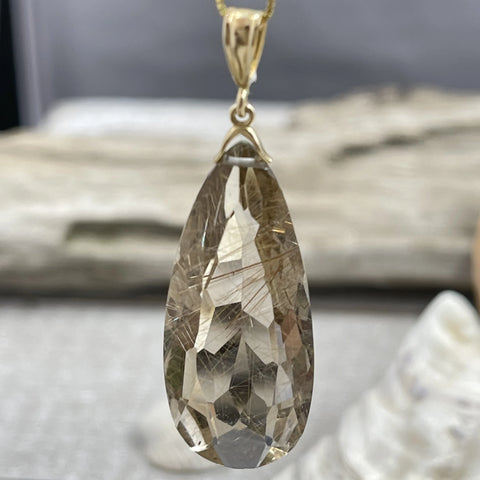 Golden Rutile Smokey Quartz Faceted Pendant in 14K Gold