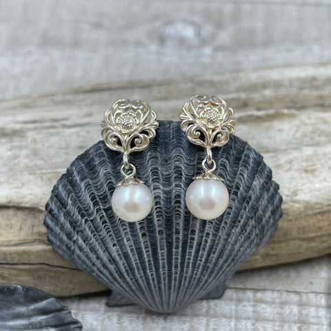 Delicate Scroll Work Freshwater Cultured Pearl Earrings