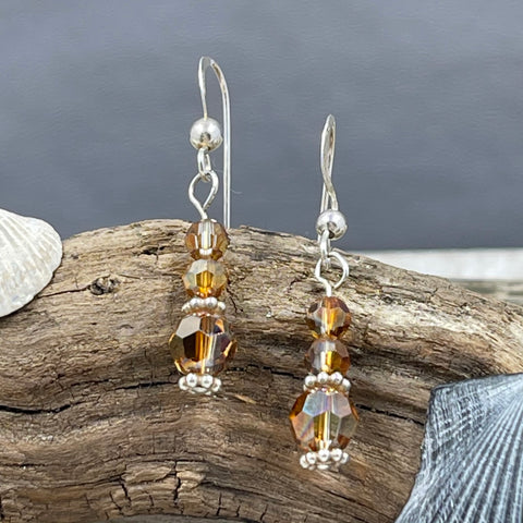 Copper Shadow Swarovski Crystal Drop Earrings