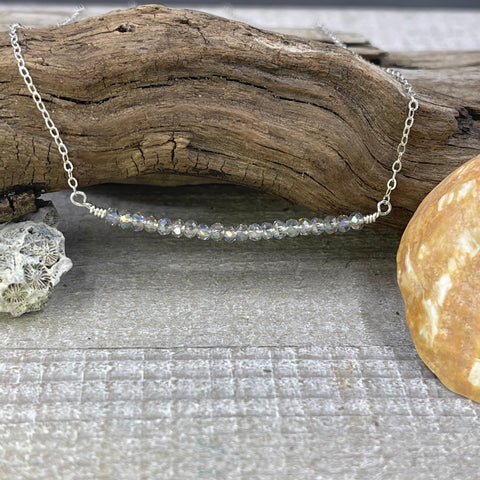 Sparkling Stones Wire-Wrapped Sterling Silver Necklace