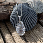 Petite Sterling Silver Wire-Wrapped Cape May Diamond Necklace