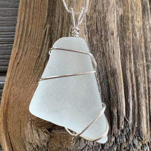 Beach Glass Sterling Wire Wrapped Pendant