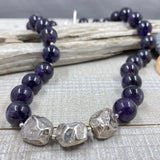 Amethyst and Silver Nugget Necklace