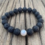 Large Lava Bead and Freshwater Pearl Bracelet