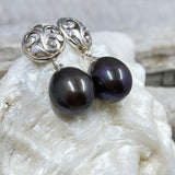 Peacock Purple Freshwater Cultured Pearl Earrings