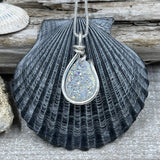 White Dichroic Teardrop Druzy Necklace