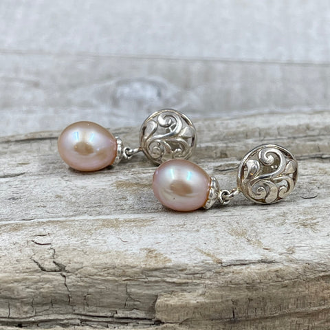 Pink Water Drop Freshwater Cultured Pearl Earrings