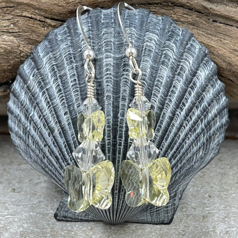 Yellow Crystal Butterfly Earrings