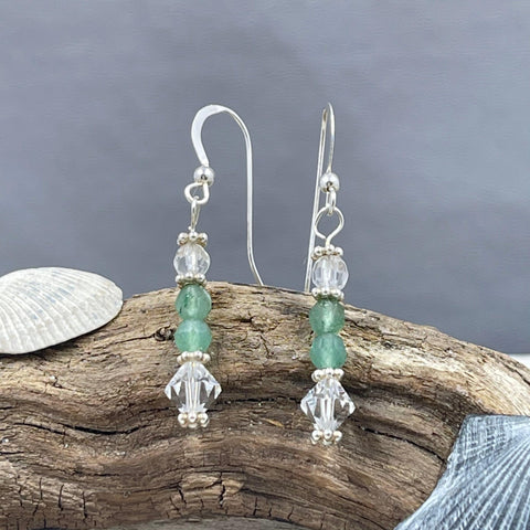 Aventurine and Swarovski Crystal Earrings