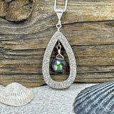 Sparkling Platinum Druzy Drop with Mystic Topaz Necklace