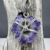 Amethyst Stalactite Wire Wrapped Necklace