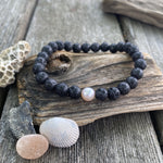 Lava Bead and Freshwater Pearl Bracelet - small