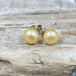 Golden Button Freshwater Cultured Pearl Post Earrings