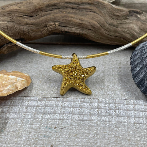 18K Gold Coated Starfish Drusy on Bi-Colored Cable Chain