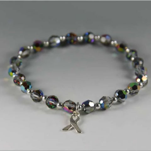 Sparkle Rainbow Cancer Awareness Bracelet - Swarovski Crystal Beads
