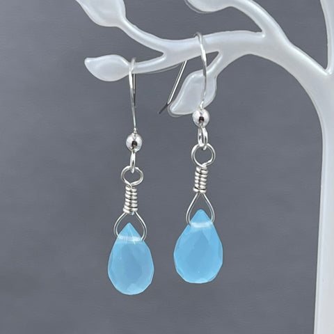 Sea Green/Blue Jade Briolette Earrings