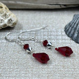 Dark Red Crystal Drop Earrings