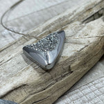 Silver Colored Triangle Sparkling Drusy Necklace
