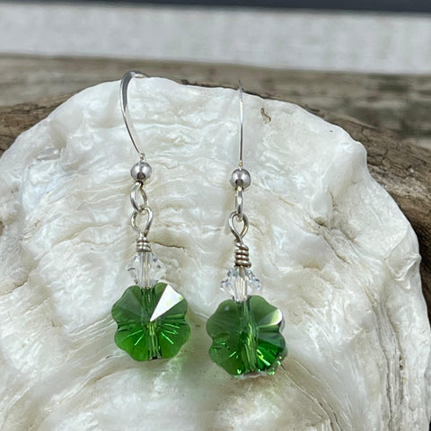 4-Leaf Clover Petite Crystal Earrings - Dark Green