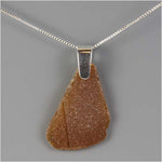 Brown Tumbled Glass Pendant Necklace