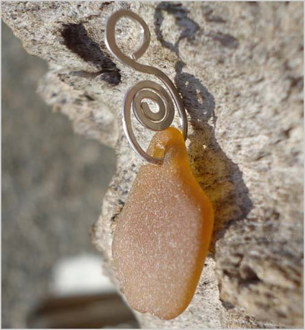 Cape May Point Brown S-Swirl Beach Glass Pendant