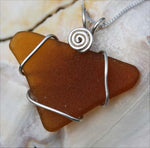 Cape May Brown Tumbled Sea Glass Necklace