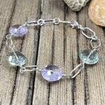 Green Amethyst and Pink Amethyst Coin Bracelet
