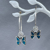 Sterling Silver Hoops with Butterfly Accent
