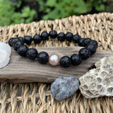 Lava bead and pearl - medium