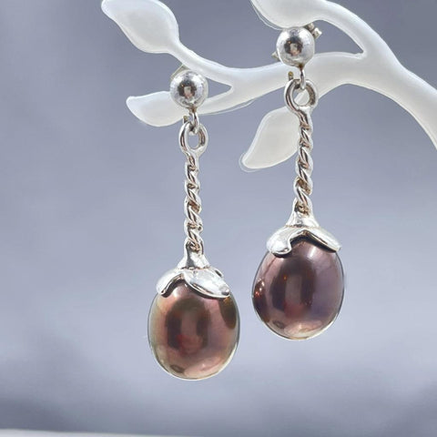 Aubergine Drop Twist Pearl Earrings