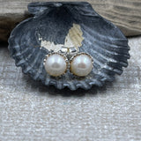 White Round Freshwater Cultured Pearl Earrings