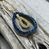 Cobalt Blue Druzy and 18K Gold Coated Tear Drop Necklace