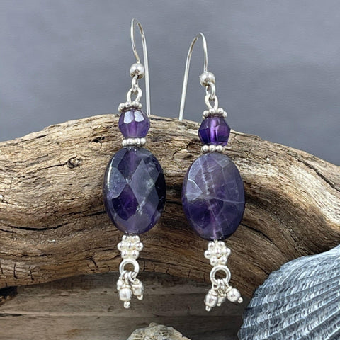 Amethyst Oval Drop Earrings