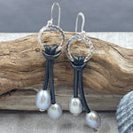 Silver Pearl and Swarovski Crystal Leather Earrings