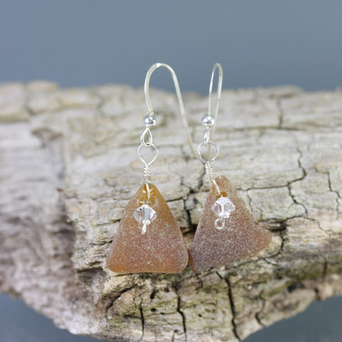Cape May Brown Sea Glass Earrings