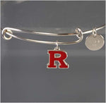 Adjustable Sterling Silver Rutgers Bangle Bracelet