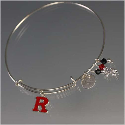 Adjustable Sterling Silver Rutgers Bangle Bracelet with Swarovski Crystals