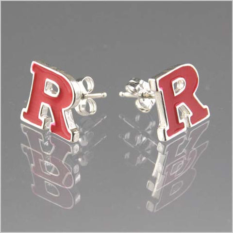 Rutgers Red Block R Post Earrings