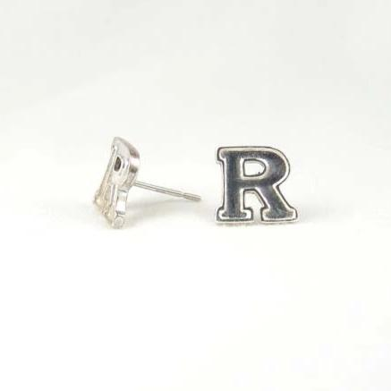 Rutgers Block R Post Earrings - Sterling Silver