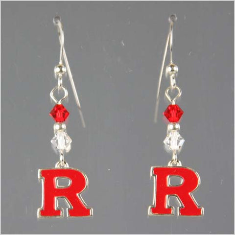 Rutgers Block R Swarovski Crystal Dangle Earrings - Clear and Red