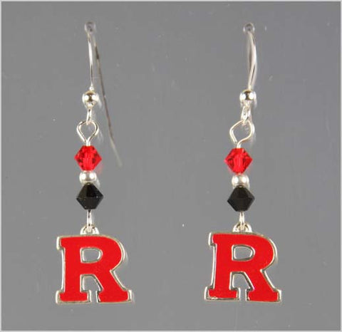 Rutgers Black and Red Swarovski Crystal Dangle Earrings
