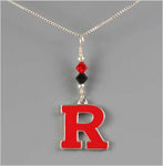 Rutgers Block R Necklace - Black and Red Swarovski Crystal - RED