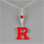 Rutgers University Block R Red and Clear Crystal Necklace
