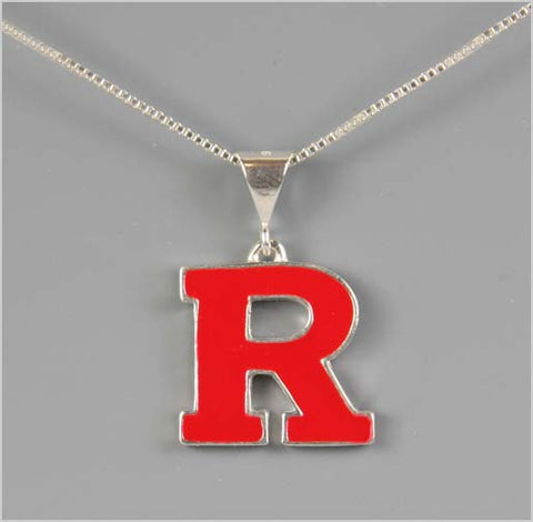 Rutgers Block R Red Pendant Necklace