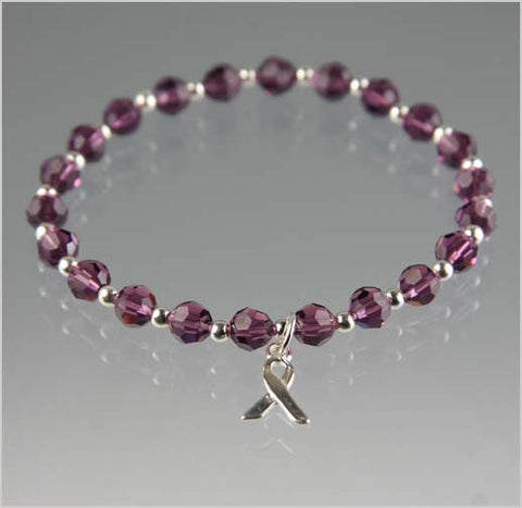 Pancreatic Cancer Awareness Bracelet - Swarovski Crystal Beads