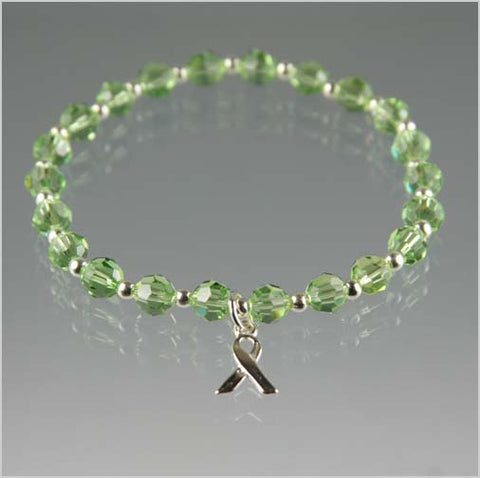 Lymphoma Cancer Awareness Bracelet - Lime Swarovski Crystal